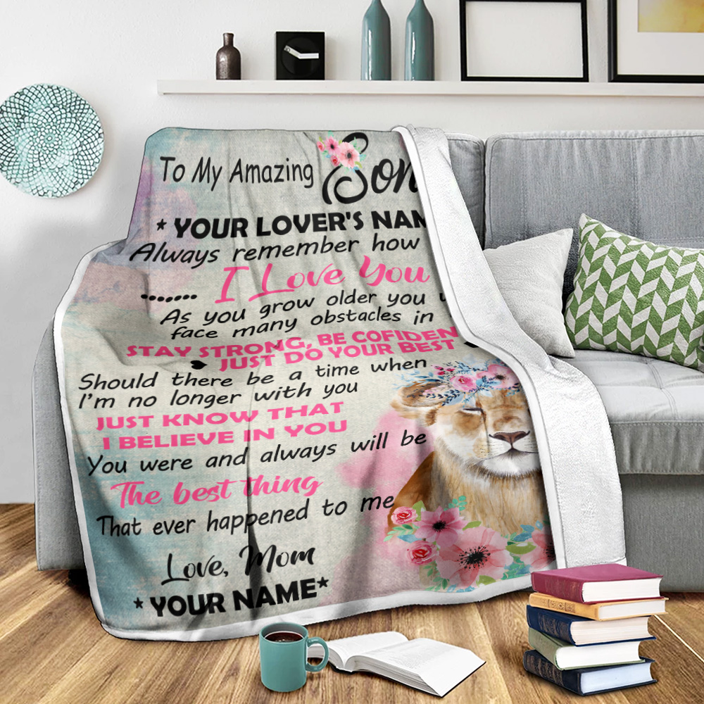 Personalized Fleece Throw Blanket To My Lion Son You Were And Always Will Be The Best Thing That Ever Happened To Me Lightweight Super Soft Cozy For Decorative Couch Sofa Bed