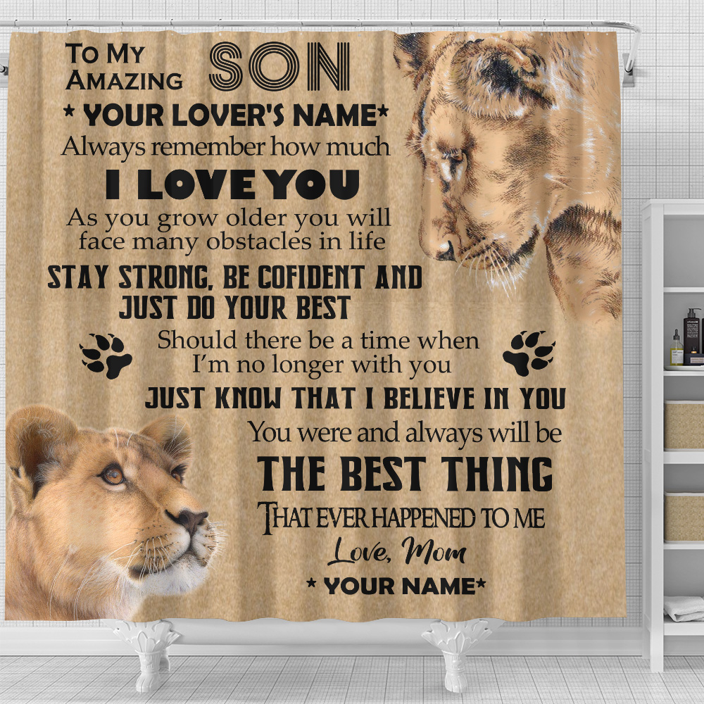 Personalized Shower Curtain 71 X 71 Inch To My Lion Son You Were And Always Will Be The Best Thing That Ever Happened To Me Set 12 Hooks Decorative Bath Modern Bathroom Accessories Machine Washable