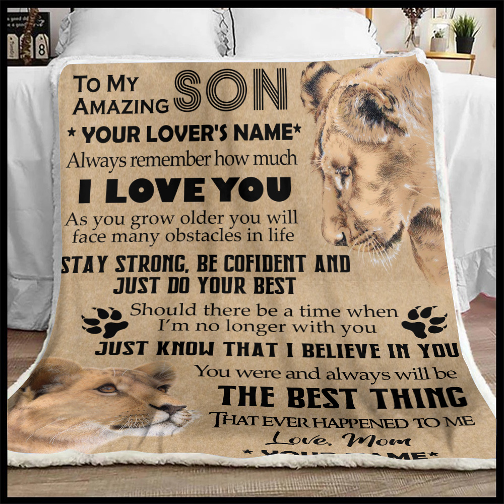 Personalized Quilt Throw Blanket To My Lion Son You Were And Always Will Be The Best Thing That Ever Happened To Me Lightweight Super Soft Cozy For Decorative Couch Sofa Bed