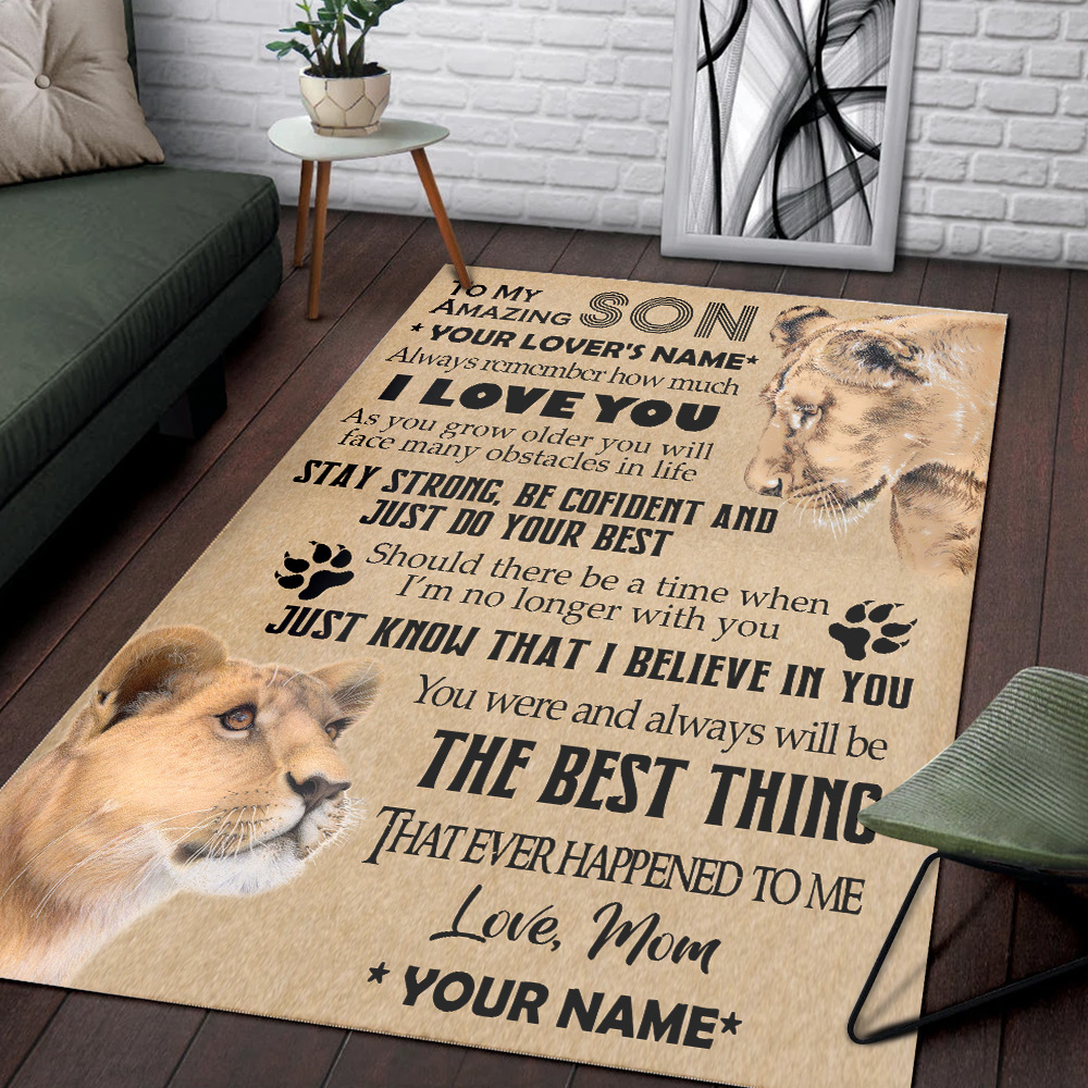 Personalized Floor Area Rugs To My Lion Son You Were And Always Will Be The Best Thing That Ever Happened To Me Indoor Home Decor Carpets Suitable For Children Living Room Bedroom Birthday Christmas Aniversary