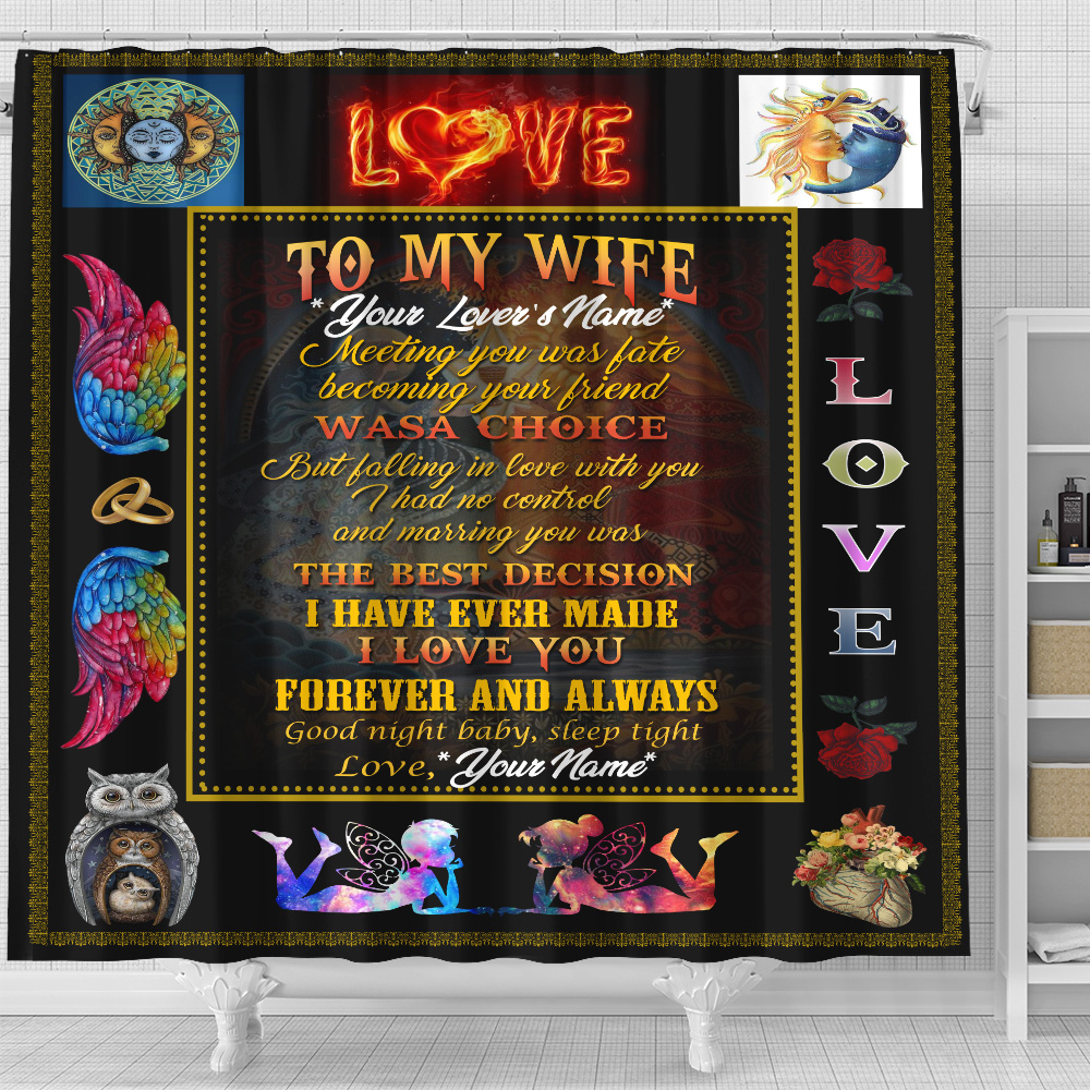 Personalized Shower Curtain 71 X 71 Inch To My Wife Marrying You Was The Best Decision I Have Ever Made Set 12 Hooks Decorative Bath Modern Bathroom Accessories Machine Washable