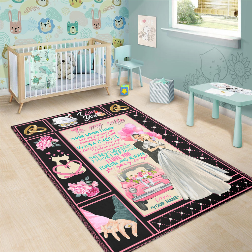 Personalized Floor Area Rugs To My Wife Marrying You Was The Best Decision I Have Ever Made Indoor Home Decor Carpets Suitable For Children Living Room Bedroom Birthday Christmas Aniversary