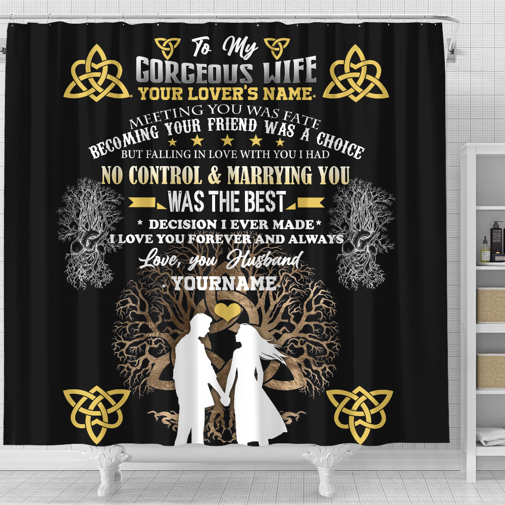 Personalized Shower Curtain 71 X 71 Inch To My Wife I Love You Forever And Always Set 12 Hooks Decorative Bath Modern Bathroom Accessories Machine Washable