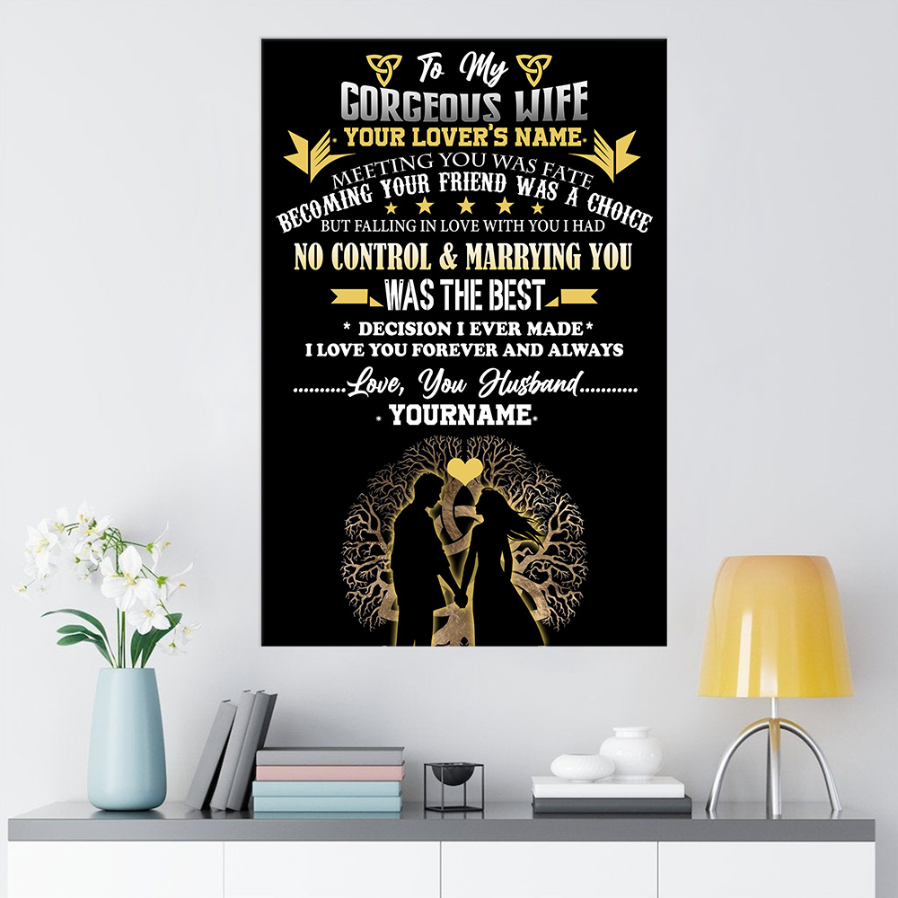 Personalized Wall Art Poster Canvas 1 Panel To My Wife I Love You Forever And Always Great Idea For Living Home Decorations Birthday Christmas Aniversary