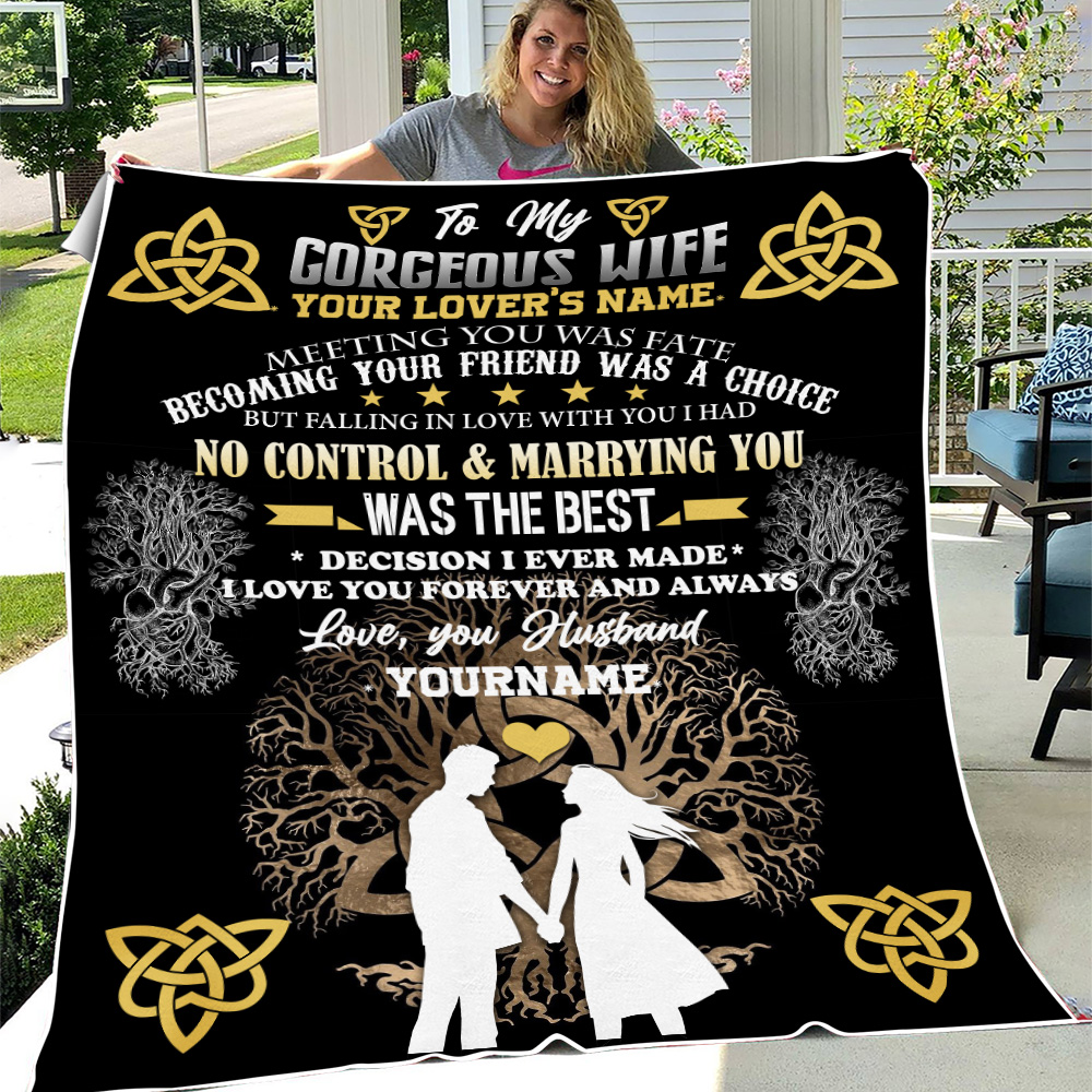 Personalized Fleece Throw Blanket To My Wife I Love You Forever And Always Lightweight Super Soft Cozy For Decorative Couch Sofa Bed