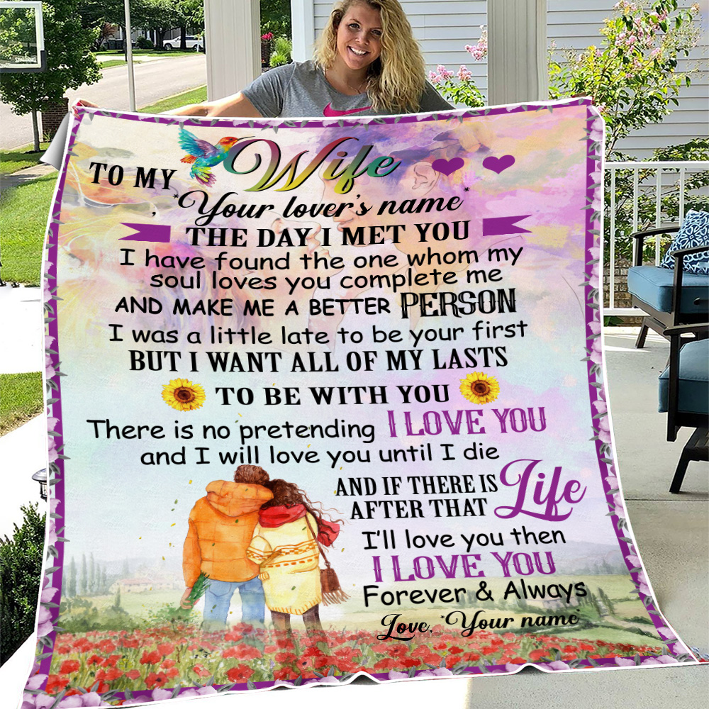Personalized Fleece Throw Blanket To My Wife I Want All Of My Lasts To Be With You Lightweight Super Soft Cozy For Decorative Couch Sofa Bed