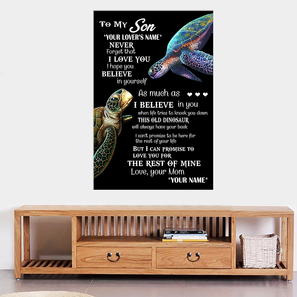 Personalized Wall Art Poster Canvas 1 Panel To My Son This Old Turtle Will Always Have Your Back Great Idea For Living Home Decorations Birthday Christmas Aniversary