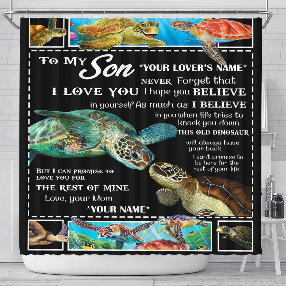 Personalized Shower Curtain 71 X 71 Inch To My Son This Old Turtle Will Always Have Your Back Set 12 Hooks Decorative Bath Modern Bathroom Accessories Machine Washable