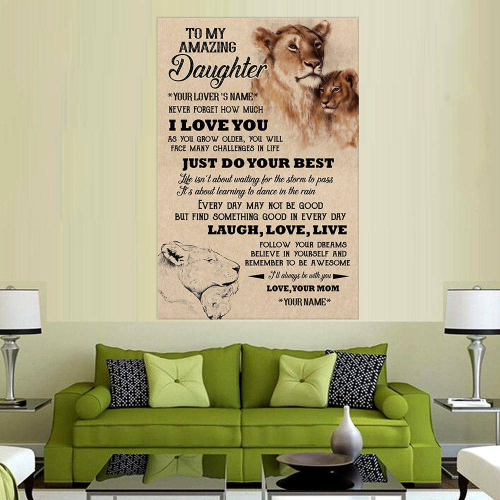 Personalized Wall Art Poster Canvas 1 Panel To My Lion Daughter I'll Always Be With You Great Idea For Living Home Decorations Birthday Christmas Aniversary