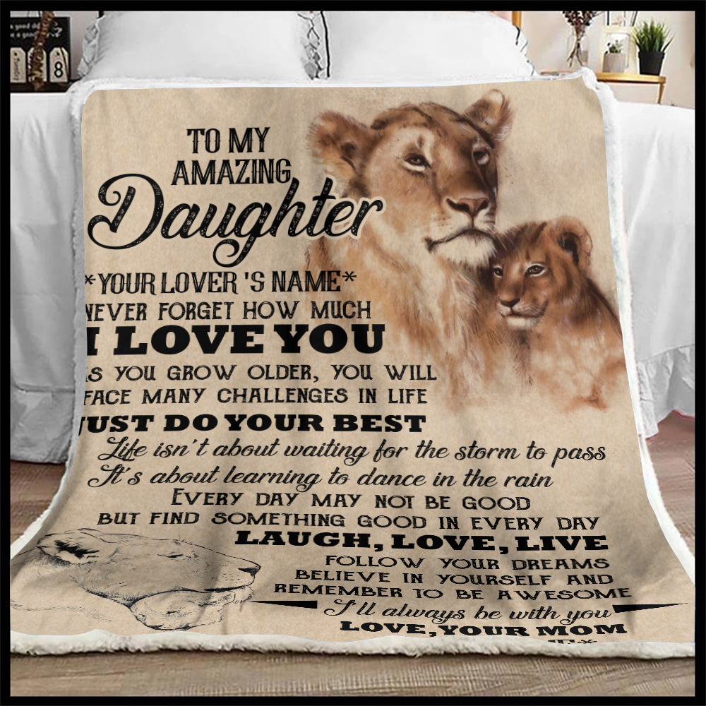 Personalized Fleece Throw Blanket To My Lion Daughter I'll Always Be With You Lightweight Super Soft Cozy For Decorative Couch Sofa Bed