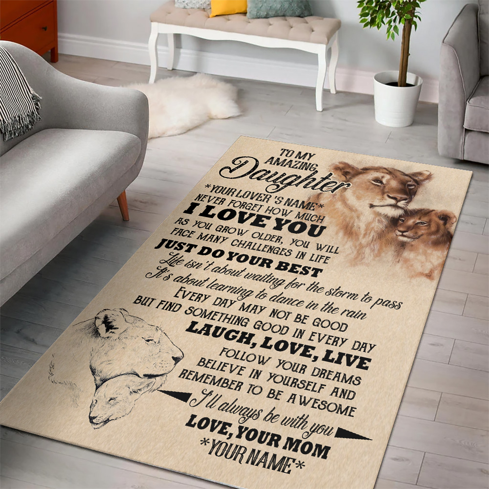 Personalized Floor Area Rugs To My Lion Daughter I'll Always Be With You Indoor Home Decor Carpets Suitable For Children Living Room Bedroom Birthday Christmas Aniversary