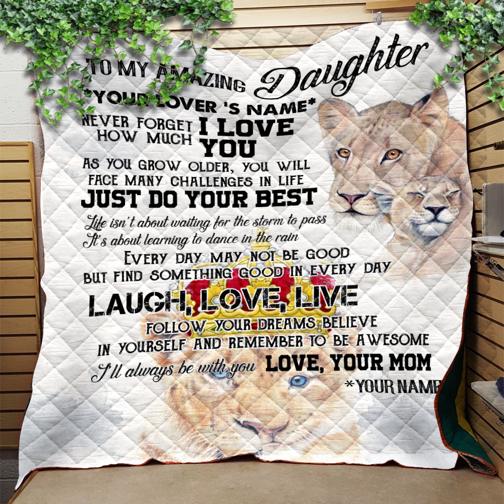 Personalized Quilt Throw Blanket To My Lion Daughter I'll Always Be With You Lightweight Super Soft Cozy For Decorative Couch Sofa Bed