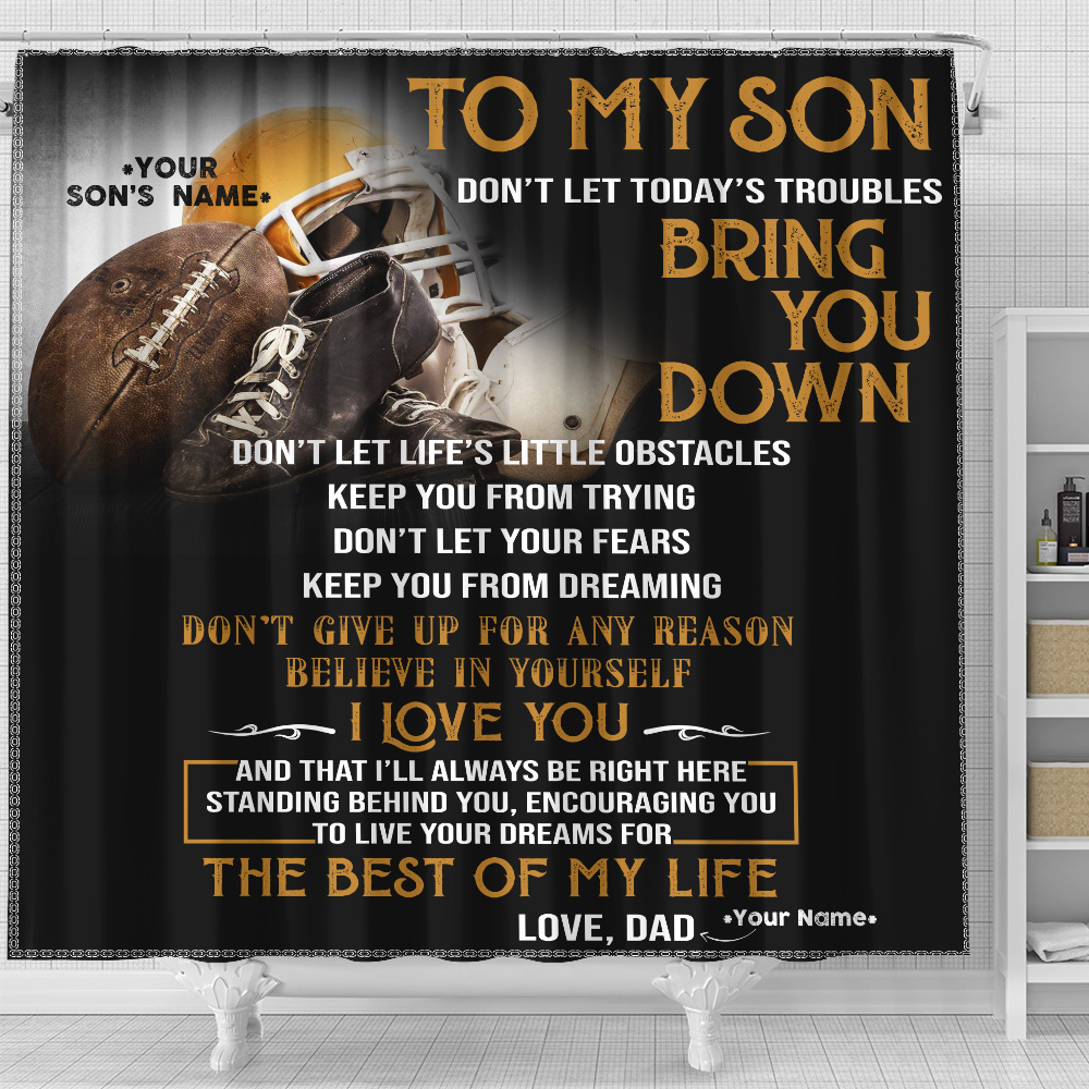 Personalized Shower Curtain 71 X 71 Inch To My Football Son Believe In Yourself And Live Your Dream Set 12 Hooks Decorative Bath Modern Bathroom Accessories Machine Washable