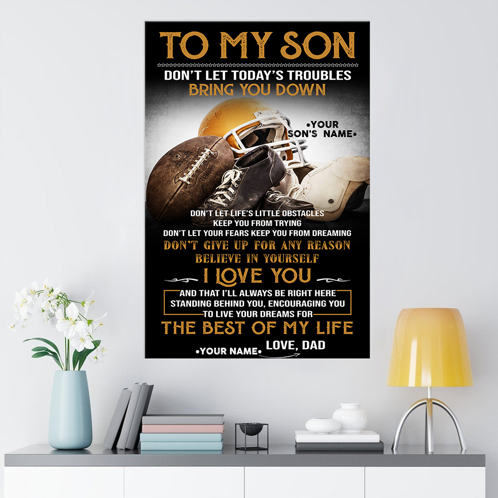 Personalized Wall Art Poster Canvas 1 Panel To My Football Son Believe In Yourself And Live Your Dream Great Idea For Living Home Decorations Birthday Christmas Aniversary