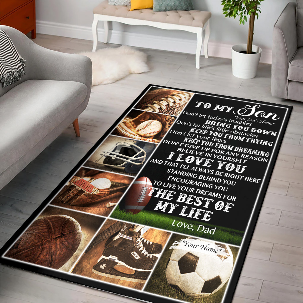 Personalized Floor Area Rugs To My Football Son Believe In Yourself And Live Your Dream Indoor Home Decor Carpets Suitable For Children Living Room Bedroom Birthday Christmas Aniversary