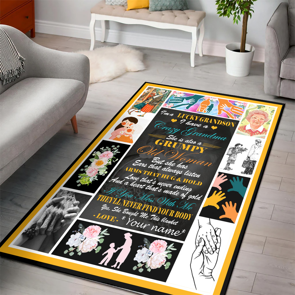 Personalized Floor Area Rugs I'm A Lucky Grandson, I Have A Crazy Grandma Indoor Home Decor Carpets Suitable For Children Living Room Bedroom Birthday Christmas Aniversary