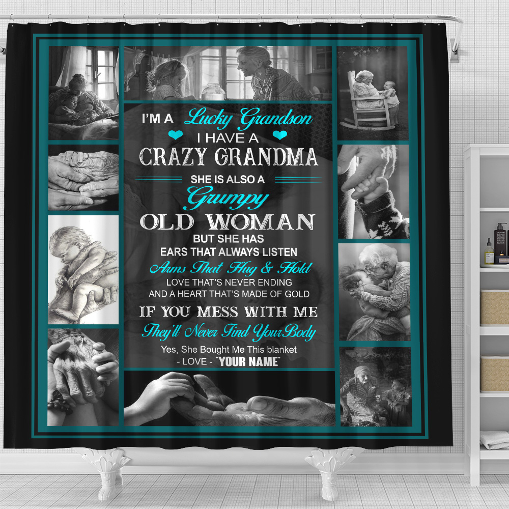 Personalized Shower Curtain 71 X 71 Inch I'm A Lucky Grandson, I Have A Crazy Grandma Set 12 Hooks Decorative Bath Modern Bathroom Accessories Machine Washable