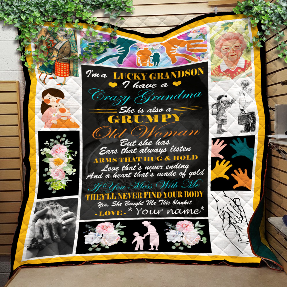 Personalized Quilt Throw Blanket I'm A Lucky Grandson, I Have A Crazy Grandma Lightweight Super Soft Cozy For Decorative Couch Sofa Bed