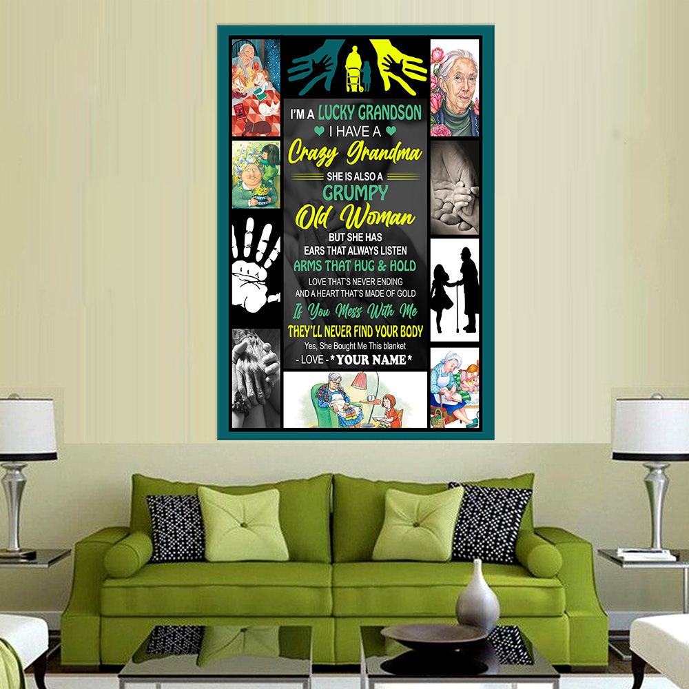 Personalized Wall Art Poster Canvas 1 Panel I'm A Lucky Grandson, I Have A Crazy Grandma Great Idea For Living Home Decorations Birthday Christmas Aniversary