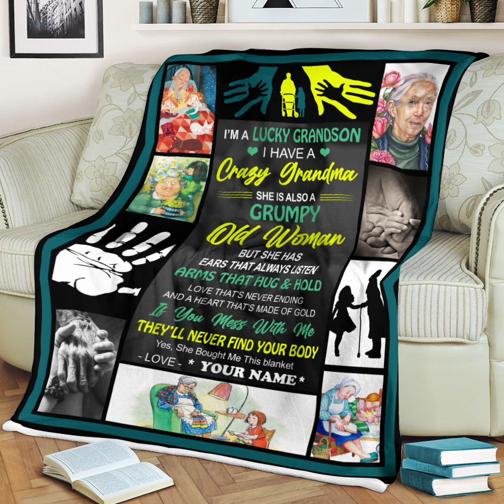 Personalized Fleece Throw Blanket I'm A Lucky Grandson, I Have A Crazy Grandma Lightweight Super Soft Cozy For Decorative Couch Sofa Bed