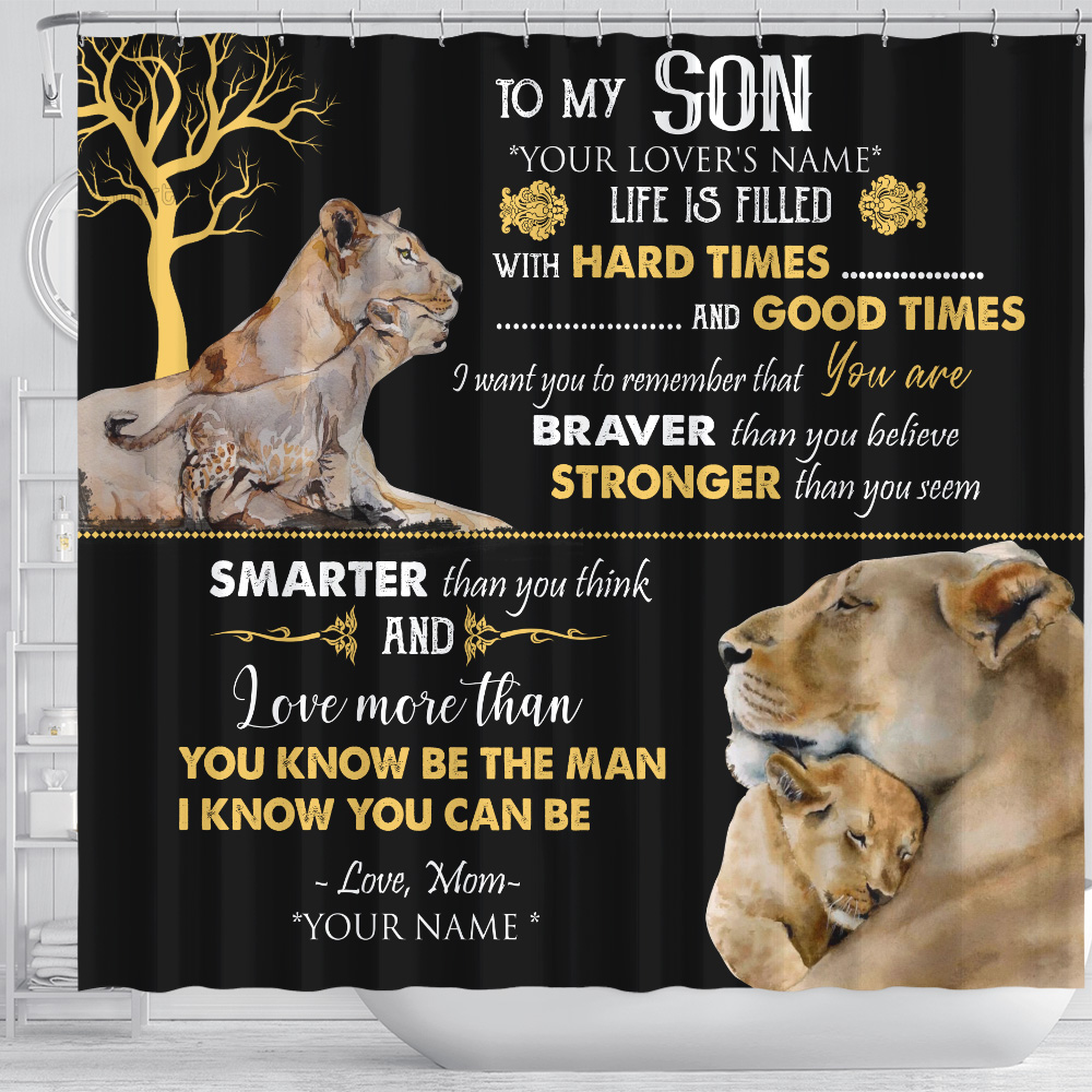 Personalized Shower Curtain 71 X 71 Inch To My Lion Son Be The Man I Know You Can Be Set 12 Hooks Decorative Bath Modern Bathroom Accessories Machine Washable