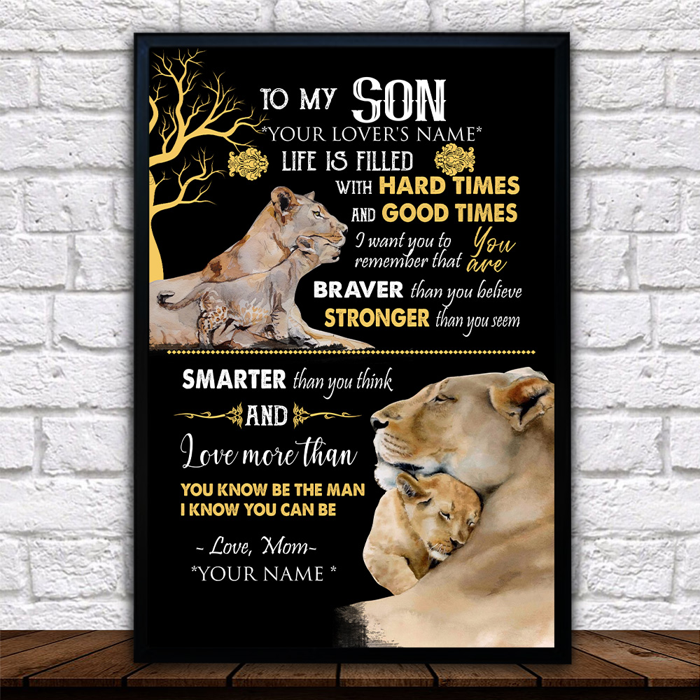 Personalized Wall Art Poster Canvas 1 Panel To My Lion Son Be The Man I Know You Can Be Great Idea For Living Home Decorations Birthday Christmas Aniversary
