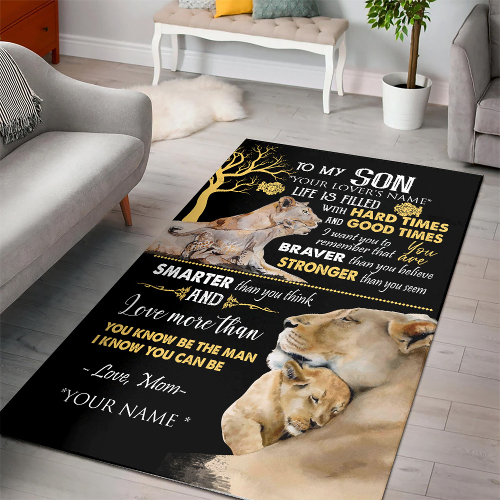 Personalized Floor Area Rugs To My Lion Son Be The Man I Know You Can Be Indoor Home Decor Carpets Suitable For Children Living Room Bedroom Birthday Christmas Aniversary