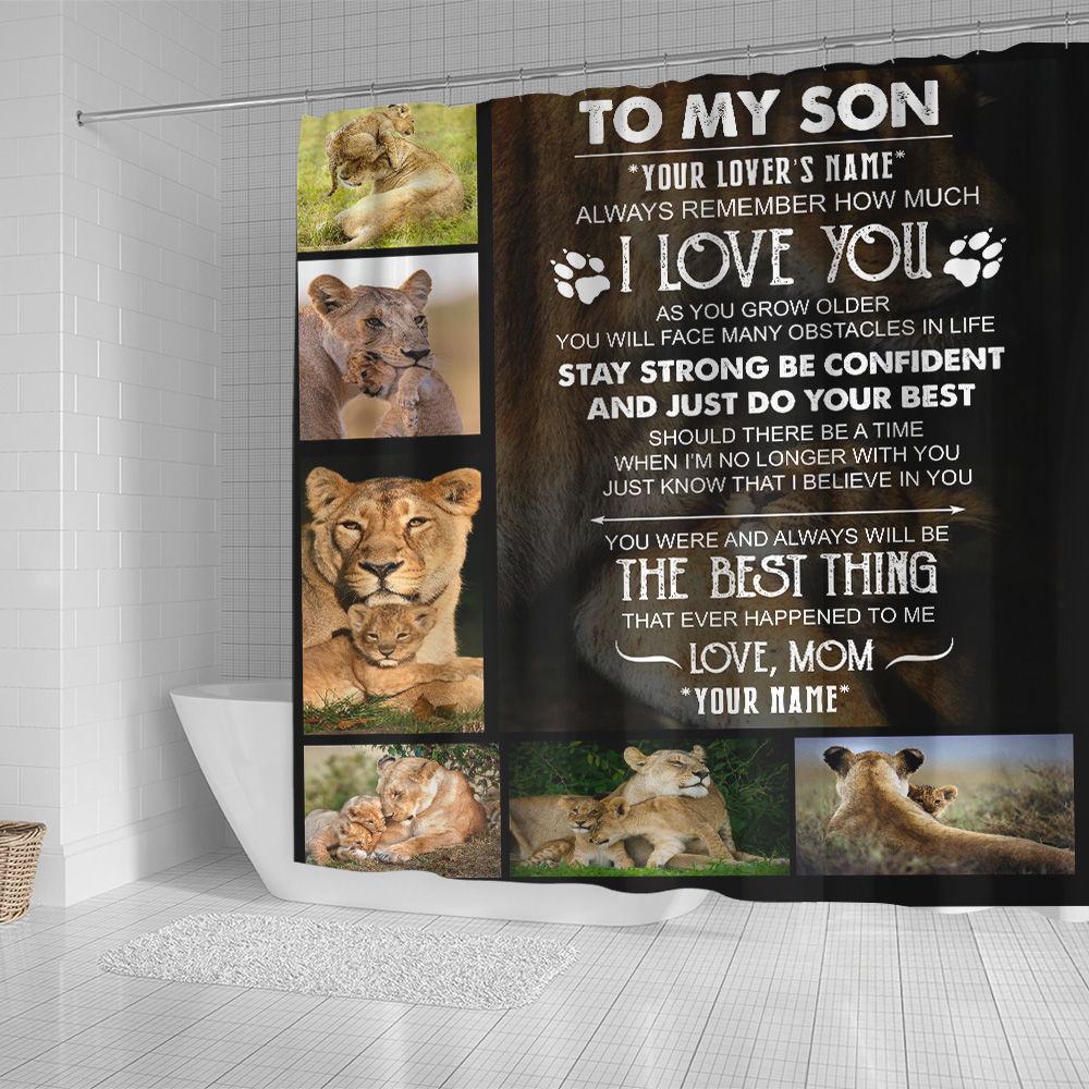 Personalized Shower Curtain 71 X 71 Inch To My Lion Son Always Remember How Much I Love You Set 12 Hooks Decorative Bath Modern Bathroom Accessories Machine Washable