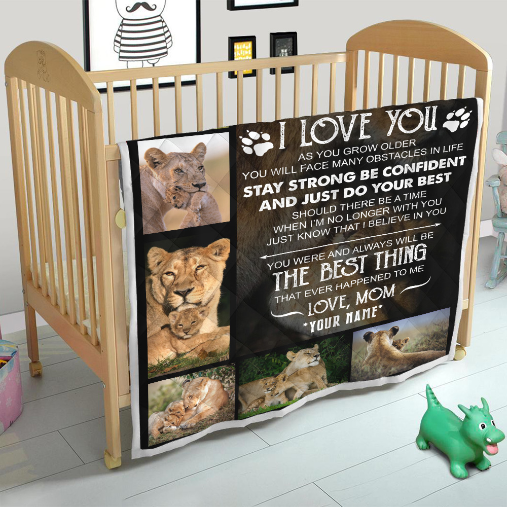 Personalized Quilt Throw Blanket To My Lion Son Always Remember How Much I Love You Lightweight Super Soft Cozy For Decorative Couch Sofa Bed