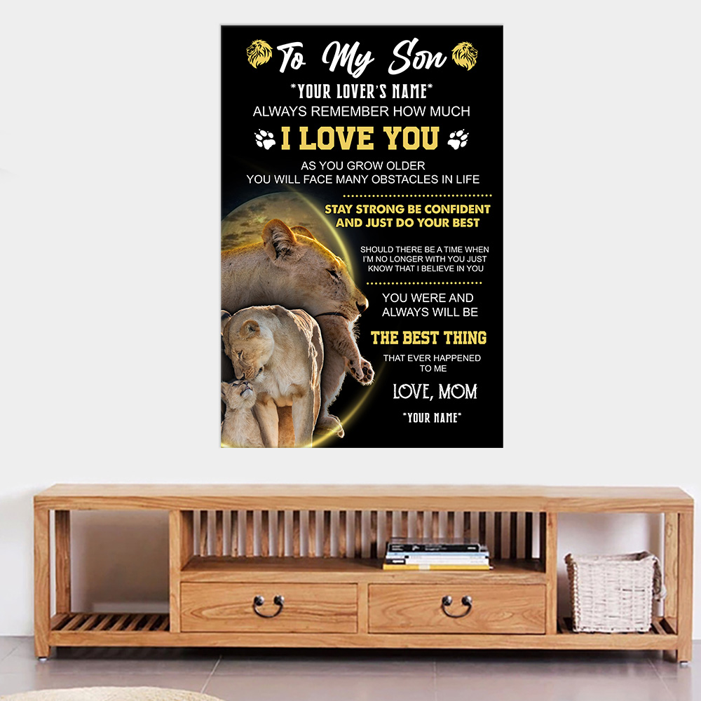 Personalized Wall Art Poster Canvas 1 Panel To My Lion Son Always Remember How Much I Love You Great Idea For Living Home Decorations Birthday Christmas Aniversary