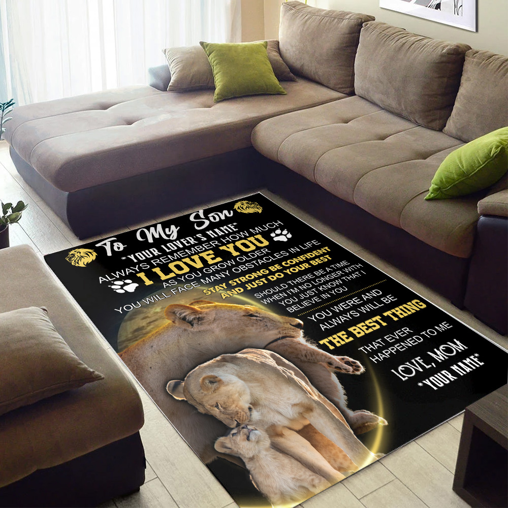 Personalized Floor Area Rugs To My Lion Son Always Remember How Much I Love You Indoor Home Decor Carpets Suitable For Children Living Room Bedroom Birthday Christmas Aniversary