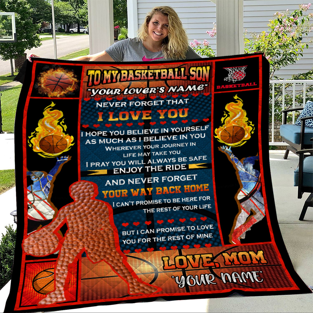 Personalized Quilt Throw Blanket To My Basketball Son Enjoy The Ride And Never Forget Your Way Back Home Lightweight Super Soft Cozy For Decorative Couch Sofa Bed