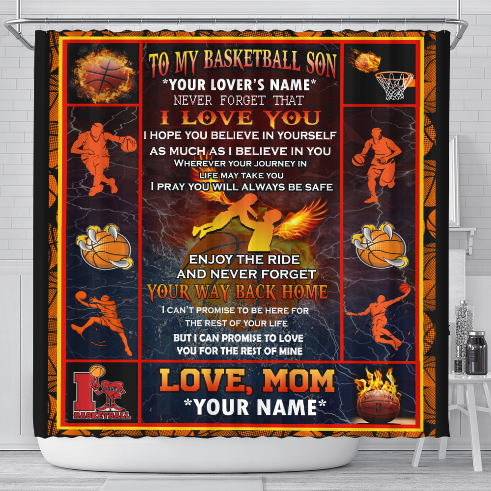 Personalized Shower Curtain 71 X 71 Inch To My Basketball Son Enjoy The Ride And Never Forget Your Way Back Home Set 12 Hooks Decorative Bath Modern Bathroom Accessories Machine Washable