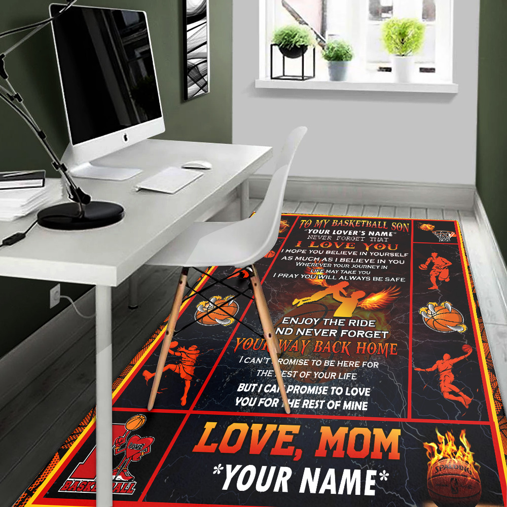 Personalized Floor Area Rugs To My Basketball Son Enjoy The Ride And Never Forget Your Way Back Home Indoor Home Decor Carpets Suitable For Children Living Room Bedroom Birthday Christmas Aniversary