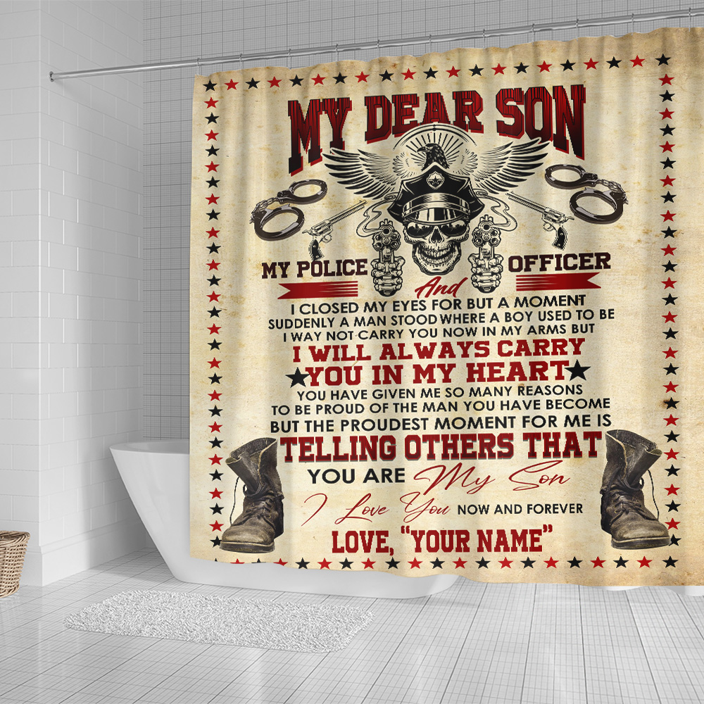 Personalized Shower Curtain 71 X 71 Inch I'm Proud That My Son Is A Police Officer Set 12 Hooks Decorative Bath Modern Bathroom Accessories Machine Washable