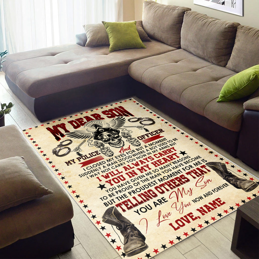 Personalized Floor Area Rugs I'm Proud That My Son Is A Police Officer Indoor Home Decor Carpets Suitable For Children Living Room Bedroom Birthday Christmas Aniversary