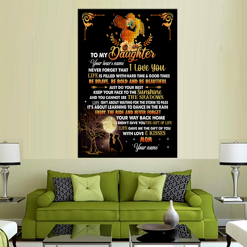 Personalized Wall Art Poster Canvas 1 Panel To My Daughter Be Brave Be Bold And Be Beautiful Great Idea For Living Home Decorations Birthday Christmas Aniversary