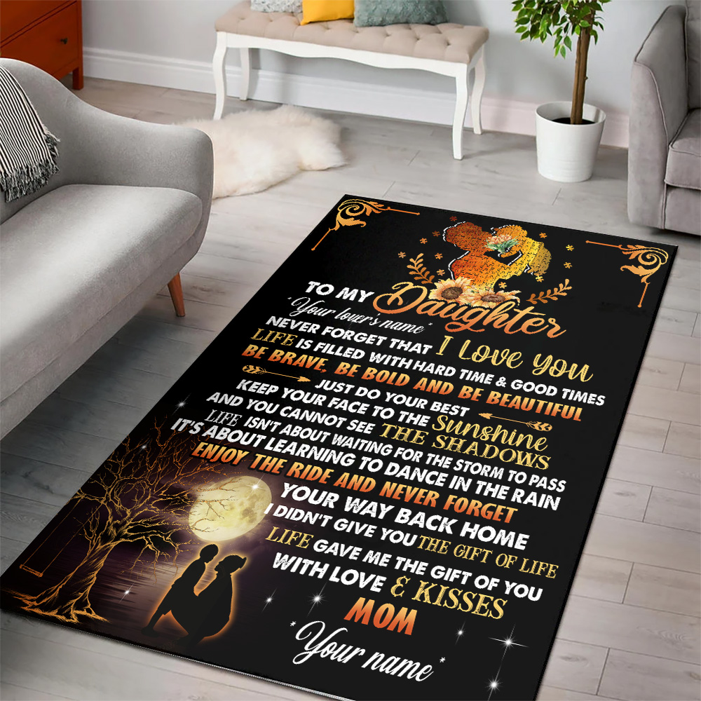 Personalized Floor Area Rugs To My Daughter Be Brave Be Bold And Be Beautiful Indoor Home Decor Carpets Suitable For Children Living Room Bedroom Birthday Christmas Aniversary
