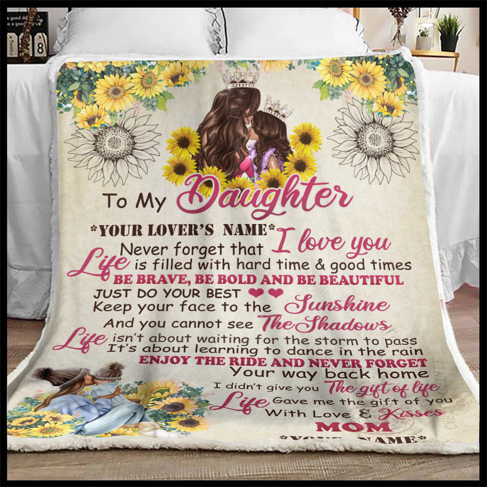 Personalized Fleece Throw Blanket To My Daughter Be Brave Be Bold And Be Beautiful Lightweight Super Soft Cozy For Decorative Couch Sofa Bed