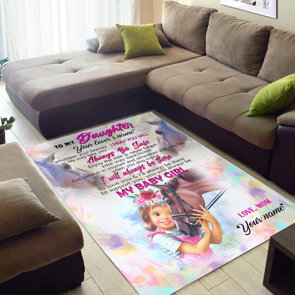 Personalized Floor Area Rugs To My Horse Daughter You Will Always My Baby Girl Indoor Home Decor Carpets Suitable For Children Living Room Bedroom Birthday Christmas Aniversary