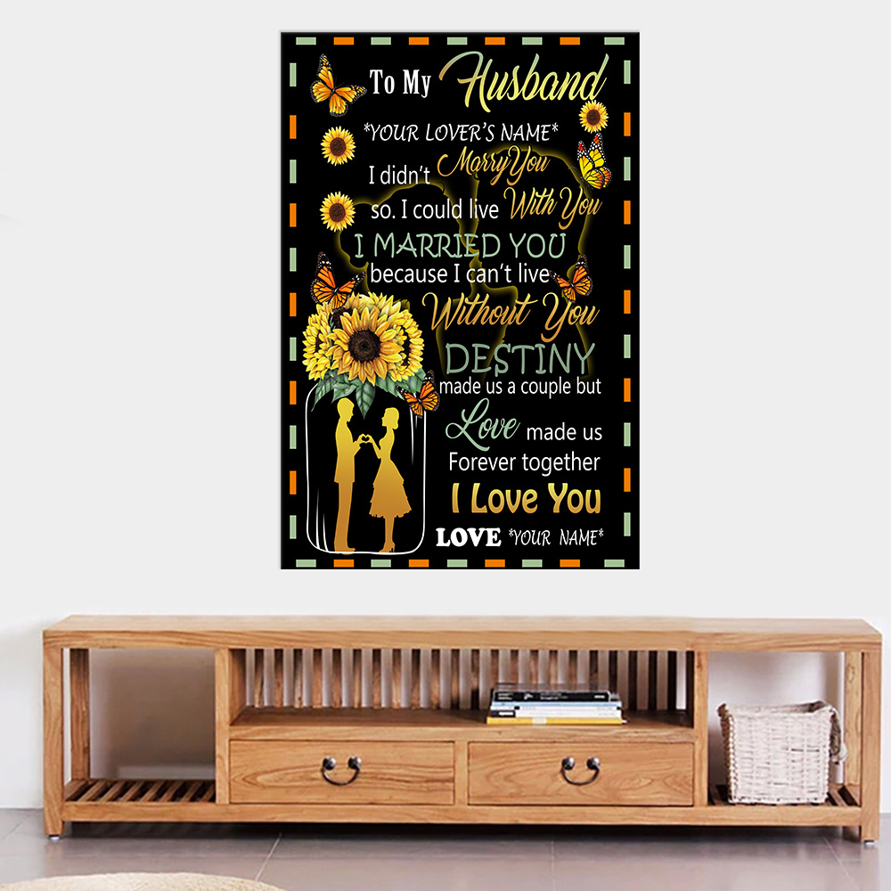 Personalized Wall Art Poster Canvas 1 Panel To My Husband Love Made Us Forever Together Great Idea For Living Home Decorations Birthday Christmas Aniversary