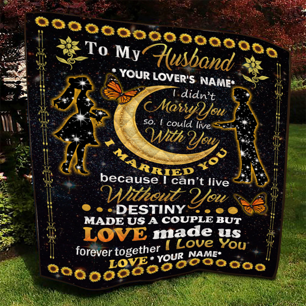 Personalized Quilt Throw Blanket To My Husband Love Made Us Forever Together Lightweight Super Soft Cozy For Decorative Couch Sofa Bed