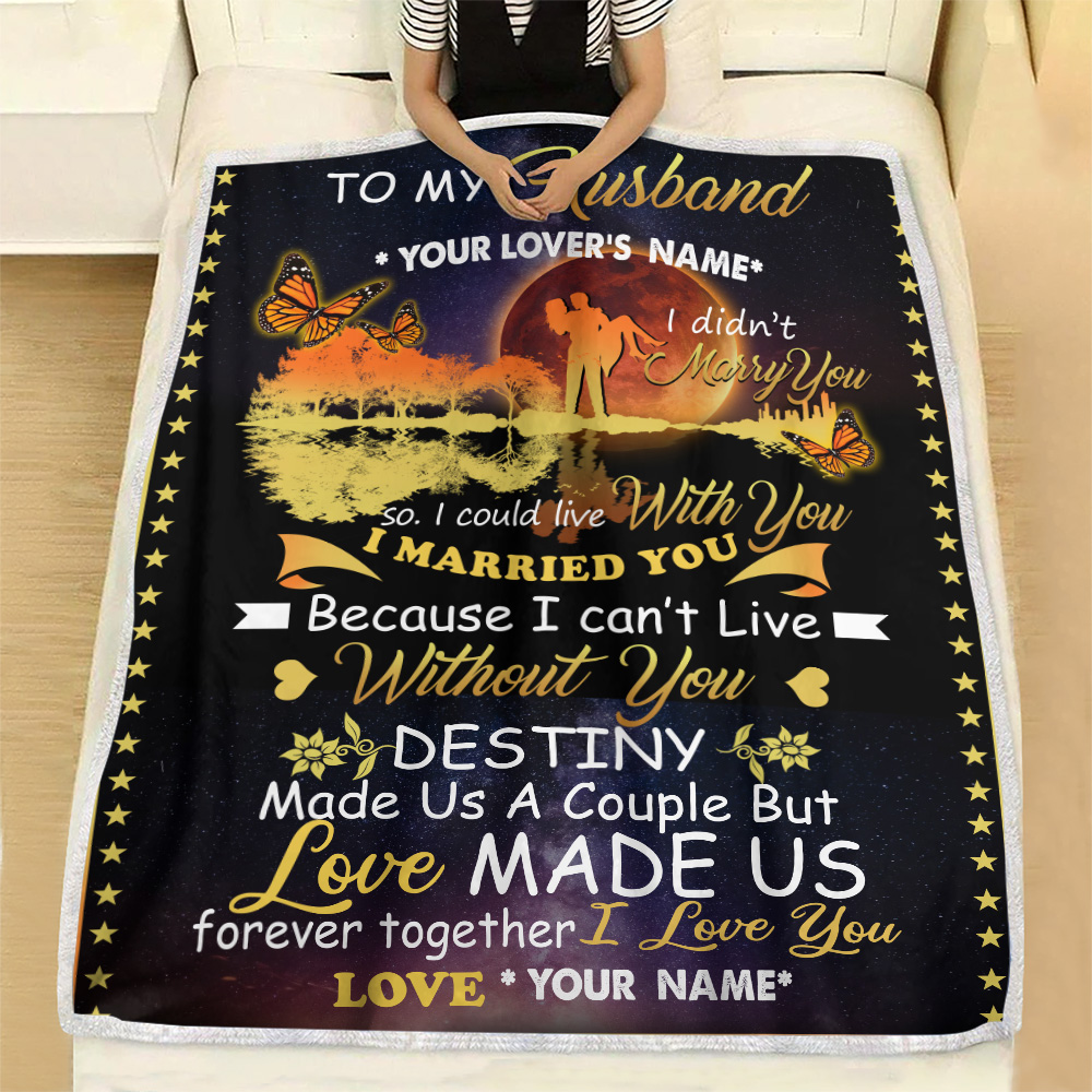 Personalized Fleece Throw Blanket To My Husband Love Made Us Forever Together Lightweight Super Soft Cozy For Decorative Couch Sofa Bed