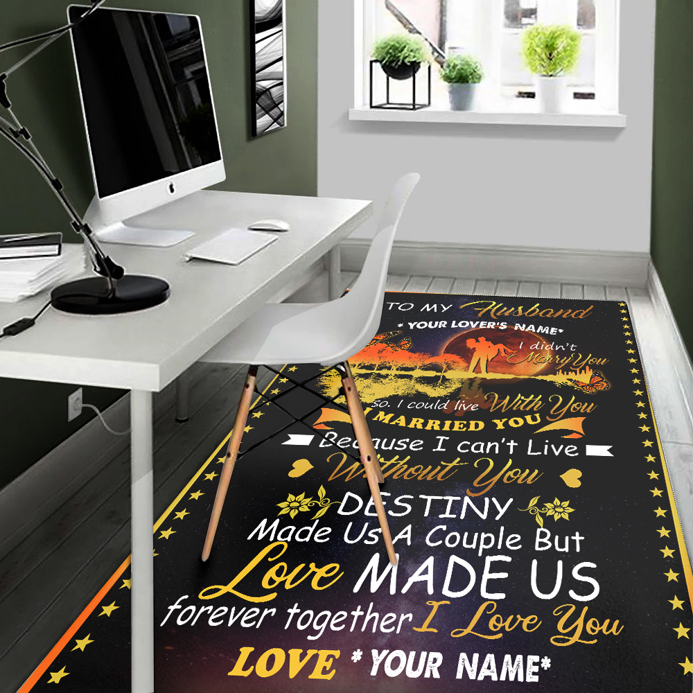 Personalized Floor Area Rugs To My Husband Love Made Us Forever Together Indoor Home Decor Carpets Suitable For Children Living Room Bedroom Birthday Christmas Aniversary