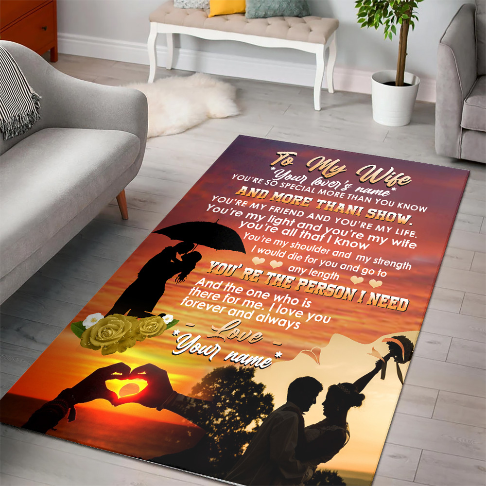 Personalized Floor Area Rugs To My Wife You Are The Person I Need Indoor Home Decor Carpets Suitable For Children Living Room Bedroom Birthday Christmas Aniversary