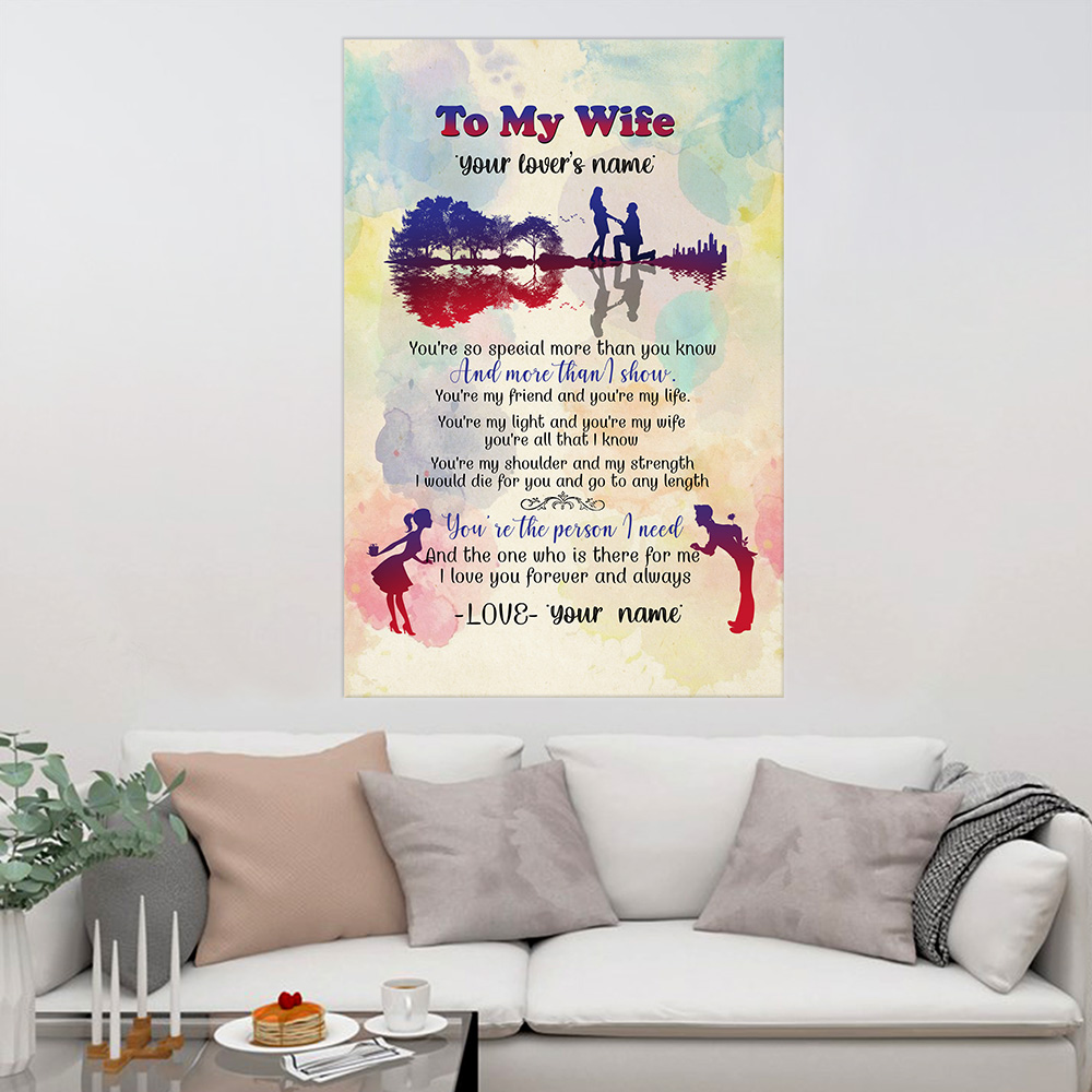 Personalized Wall Art Poster Canvas 1 Panel To My Wife You Are The Person I Need Great Idea For Living Home Decorations Birthday Christmas Aniversary