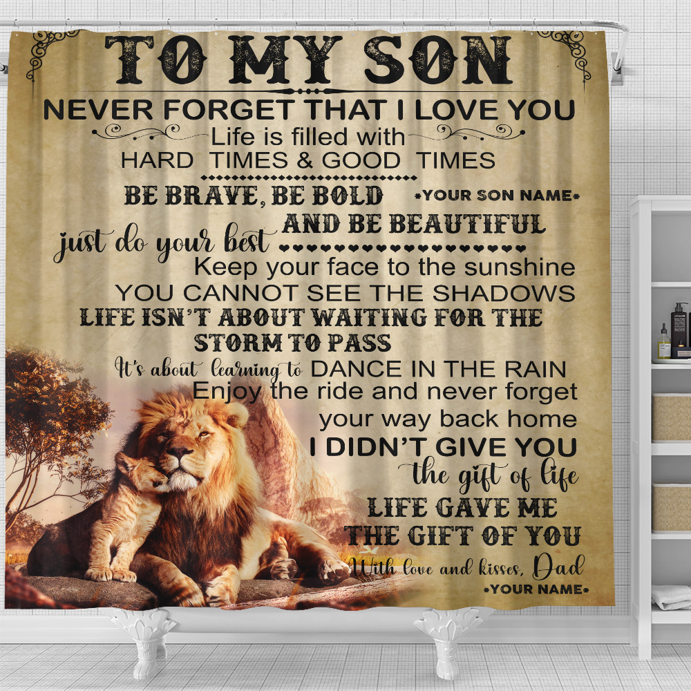 Personalized Shower Curtain 71 X 71 Inch To My Lion Son Be Brave Be Bold And Be Beautiful Set 12 Hooks Decorative Bath Modern Bathroom Accessories Machine Washable