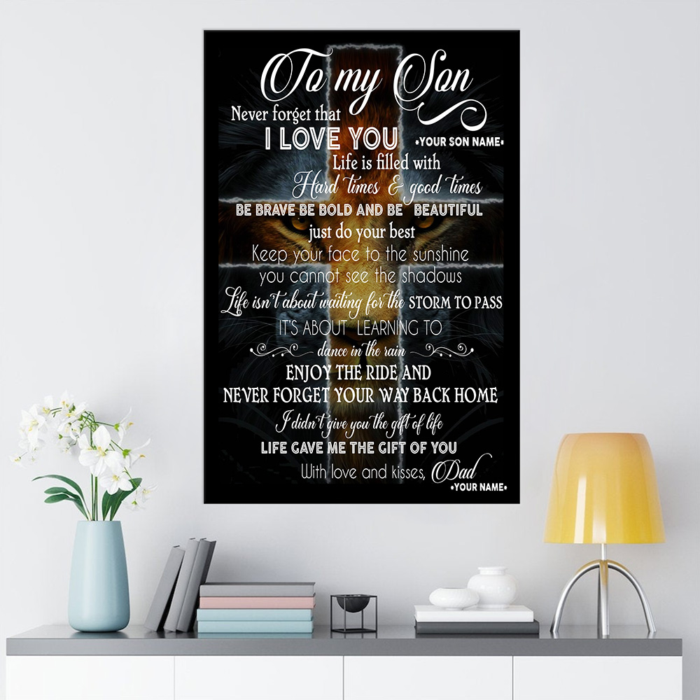 Personalized Wall Art Poster Canvas 1 Panel To My Lion Son Be Brave Be Bold And Be Beautiful Great Idea For Living Home Decorations Birthday Christmas Aniversary