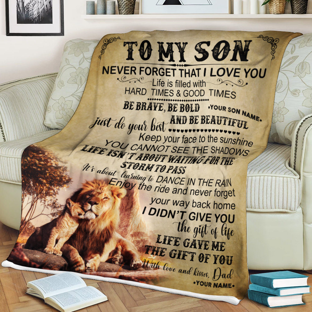 Personalized Fleece Throw Blanket To My Lion Son Be Brave Be Bold And Be Beautiful Lightweight Super Soft Cozy For Decorative Couch Sofa Bed
