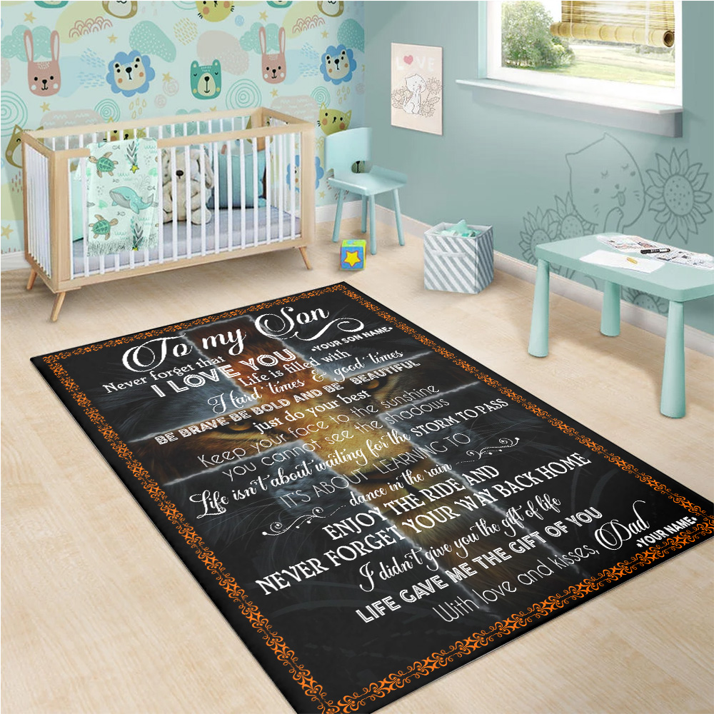 Personalized Floor Area Rugs To My Lion Son Be Brave Be Bold And Be Beautiful Indoor Home Decor Carpets Suitable For Children Living Room Bedroom Birthday Christmas Aniversary